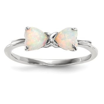 14K White Gold Polished Created Opal Bow Ring