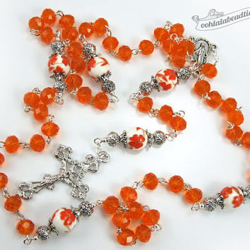 Orange crystal Rosary confirmation gift catholic rosary girls rosaries communion rosary baptism rosary ladies rosaries orange rosary prayer