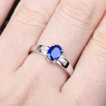 Oval Blue Sapphire and Diamond Engagement Ring 10k White Gold 0.86ctw
