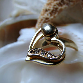 14k Diamond Spinner Ring 3.74g Size 6.25 Movable Hearts