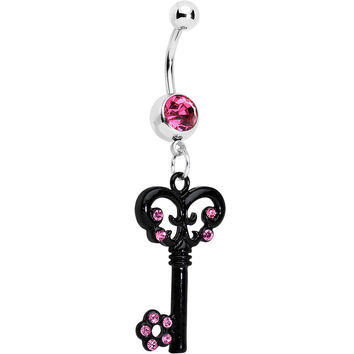 Pink Czech Stone Black Victorian Antique Key Dangle Belly Ring