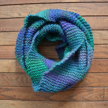 Multicolored Knit Scarf, Infinity Scarf, Purple Knitted Scarf, Teal Hand-Knit Scarf, Green Circle Scarf, Blue Knit Snood, Hand-Knit Cowl