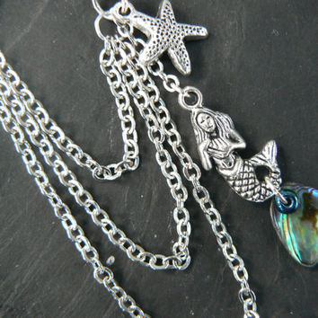 ONE mermaid abalone starfish ear cuff with chains mermaid siren abalone in boho gypsy hippie hipster beach resort and fantasy style