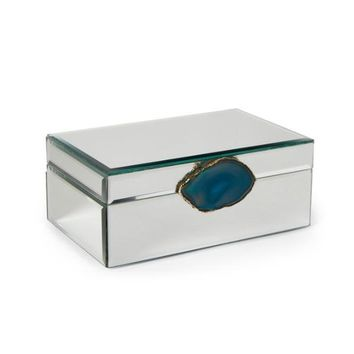 Teal Agate Embellished Mirrored Jewelry Box