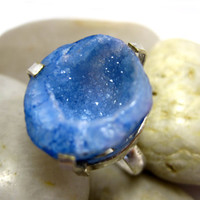 blue agate geode druzy crystal & sterling silver by Spazdesign