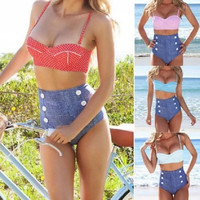 Sale! Women New Push-up Padded High Waist Top Swimsuit Swimwear Bikini Set = 1651240900