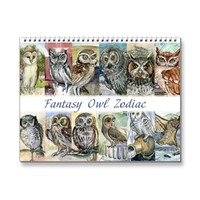 Watercolor owls paintings zodiac fantasy 2015 wall calendars | Zazzle