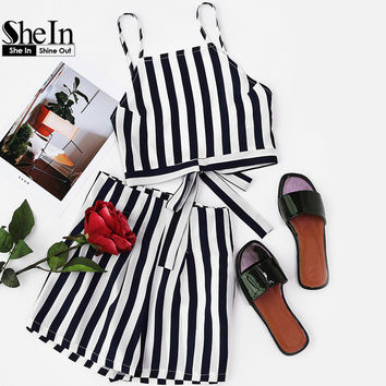 SheIn 2 Piece Short & Crop Navy Vertical Striped Set