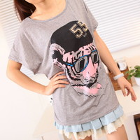 Spring Cute Pink Tiger in Cap Loose Bat Sleeves Tee Multiple Colors