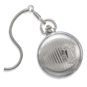 Traditional Silver Tone Engraveable Men's Fashion Pocket Watch
