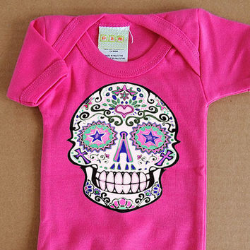 Happy Fuscia Skull Bodysuit 3 6 12 month Girls Romper. Hot Pink Traditional Sugar Skull Day of the Dead Infant Tattoo One piece. Cute Trendy
