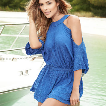 Royal Blue Loose Fit Sun Dress-Beach Wear