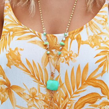 What A Treasure Necklace: Mint/Gold