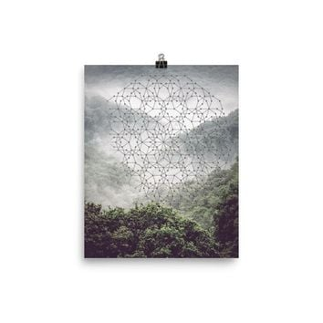 Reiki Charged Misty Mountain Mandala Poster Design Art Geometric