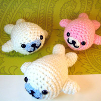 Made to Order Super Kawaii Mamegoma Seals Amigurumi Crochet Plush Animals