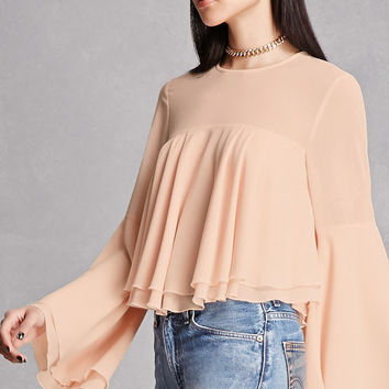Ruffled Trumpet-Sleeve Top