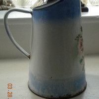 Antique French Enamelware Painted Roses Pitcher Rustic Farmhouse