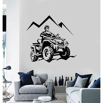 Vinyl Wall Decal Racing Rider ATV Quad Mountain Trips Extreme Sports Stickers Mural (g464)