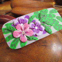 Hair barrette, Flowers barrette, Clip barrette, Polymer clay, Handmade, Delicate violet and pink flowers, green leaves. Unique gift.