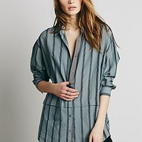 Free People Womens Stripe Oversize Boyfriend Shirt