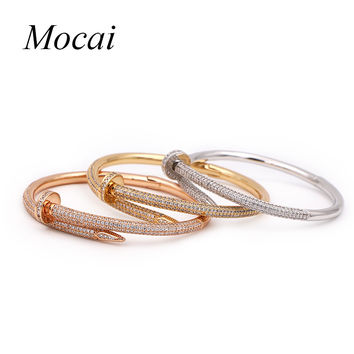 Mocai Fashion Screw Nail Cuff Bangle Bracelet for Women Gold Color Punk Alloy Zircorn Silver Charm Bracelet Vintage Jewelry ZK20