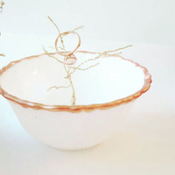 Wire Tree Jewelry Dish , Ring Dish , Ring Tree , Hand painted , Rose Gold Dish , Unique Ring Dish , Gift for Her ,  Bling Desk Accessories