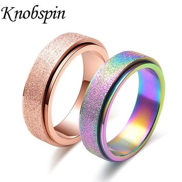 High Quality 6mm Colorful Spinner Rings Dull Polish Stainless Steel Rings for Women Fashion Jewelry Gifts Size 4-11 Bague femme