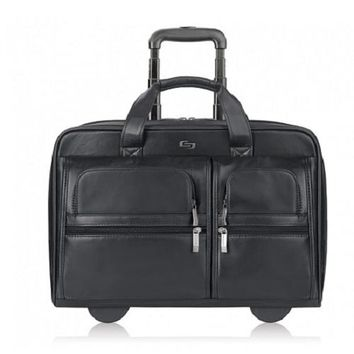 """Solo Leather Classic Rolling Laptop Case w/Telescoping Handle - Fits up to 15.6"""""""