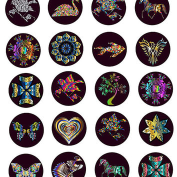 Prisms Digital Collage Sheet 1 inch Circle Image graphics Printable Download metallic flowers animals for pendants bottle-caps bezel trays