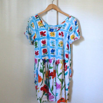 jams world baby doll dress / floral / 80s / colorful