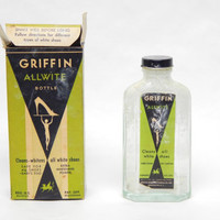 Vintage Griffin Allwite Glass Bottle Shoe Cleaner Art Deco Advertising Packaging