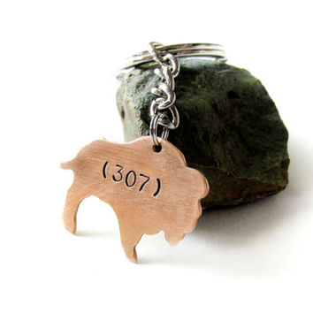 wyoming buffalo keychain, state keychain, hand stamped bronze buffalo, area code 307