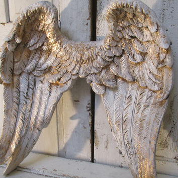 Angel wings wall decor shabby cottage inspired distressed white with  accents of gold decorative home decor