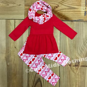 Valentine Aztec Heart Scarf Outfit