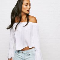 Don't Ask Why Bell Sleeve Top , White