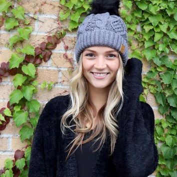 Grey Cable Knit Beanie with Black Pom Pom