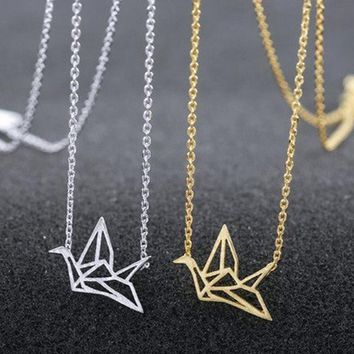 Origami Inspired Bird Necklaces