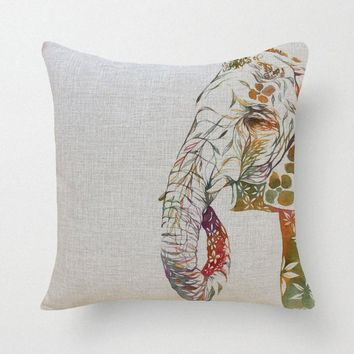Tribal Elephant Throw Pillow