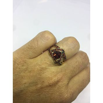 Vintage Handmade Genuine Garnet Golden 925 Sterling Silver Gothic Ring