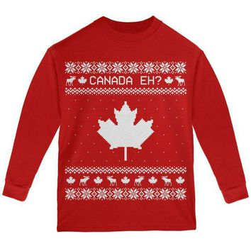 ONETOW Canadian Canada Eh Ugly Christmas Sweater Youth Long Sleeve T Shirt