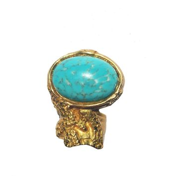 6baa10b2652 Saint Laurent YSL Large Arty Ovale Turquoise Gold Ring Size: 6 196994