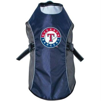 DCCKT9W Texas Rangers Water Resistant Reflective Pet Jacket