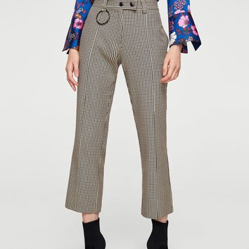 Houndstooth trousers - Women | MANGO USA