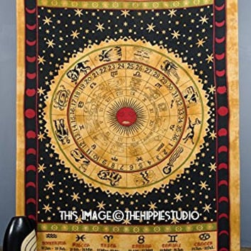 Zodiac Tapestry Wall Hanging, Astrology Tapestry, Hippie Tapestries, Bohemian Tapestry Throw, Boho Bed Coverlet Tapestry, Tapestries for Dorms, College Tapestries (60 X 90 Inches))