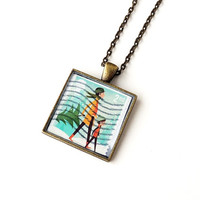 Christmas Stamp Necklace, UK British Postage Stamp Pendant, Vintage Style, Resin Jewelry Jewellery, Upcycled Recycled (1693)
