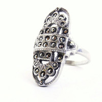 Sterling Silver Marcasite Ring  Vintage Size 7 by MaejeanVINTAGE