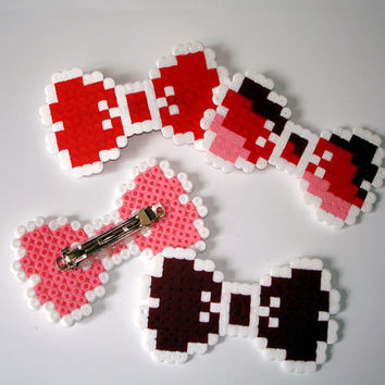 8bit Bow Barrette White & Red Pink Burgundy or by BeadxBead