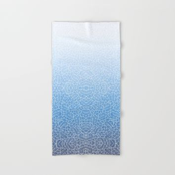 Ombre blue and white zentangle Hand & Bath Towel by Savousepate