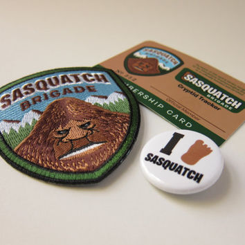 Sasquatch Brigade Membership Kit (Basic): Embroidered Patch, Card, Button/Pin (Velcro hook & loop available)