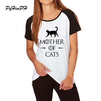 PyHenPH Brand Clothing Games Of Thrones Style t-shirts mother of Cats / pugs / huskies printed Funny t shirts tee shirt femme